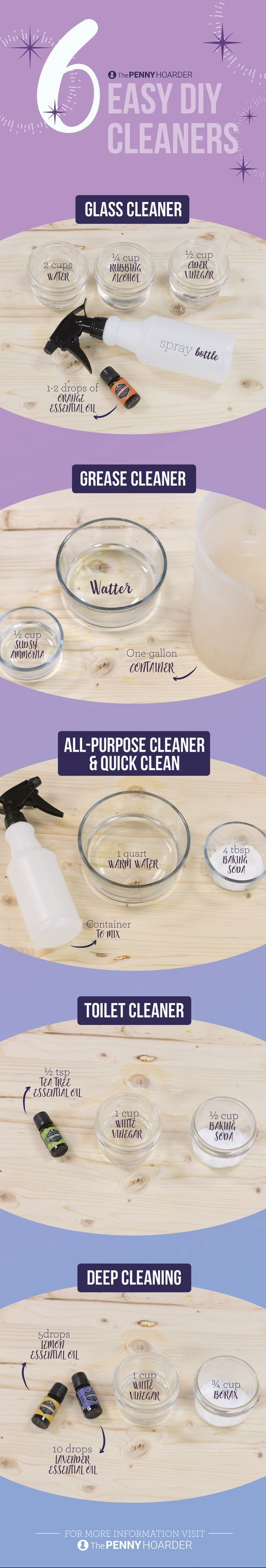Want to use eco-friendly cleaners but don't want to spend a ton of money? Try these recipes for homemade cleaning supplies that use inexpensive and mostly natural ingredients. You'll have a sparkling-clean house in no time! @thepennyhoarder