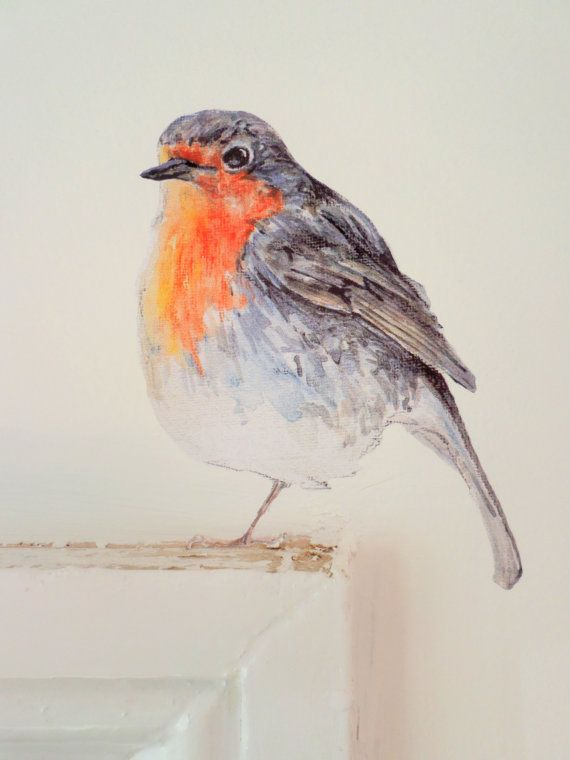 Robin wall sticker / decal, bird decals, wall decor, robin home decor, vinyl decal - printed from original watercolour and ink painting. This robin can perch, to great effect, on a wide variety of surfaces (on light switches, on or above skirting boards, over a door frame, on a kitchen cupboard, on stair risers etc.) The robin is suitable for positioning around the home; he makes a great festive decoration, and is also lovely as a year-round house guest in hallways, kitchens, bedrooms, a...