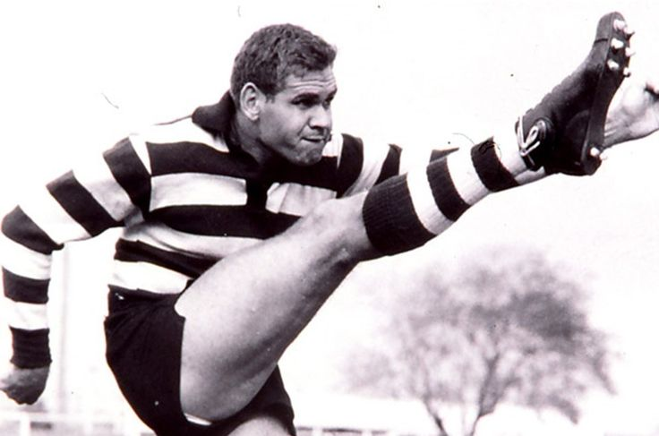 """Legend - Graham """"Polly"""" Farmer (East Perth, Geelong, West Perth). Games 356 East Perth 176, Geelong 101, West Perth 79. Became a rucking giant after crossing from Western Australia. His tap-outs were attacking and his handball revolutionised the game. Also capable of playing for much of his career with injury. A great leader."""