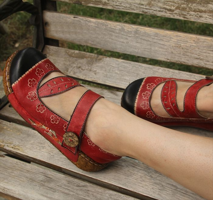 Handmade leather shoes women's shoes vintage platform colored drawing carved single shoes-inFlats from Shoes on Aliexpress.com | Alibaba Group