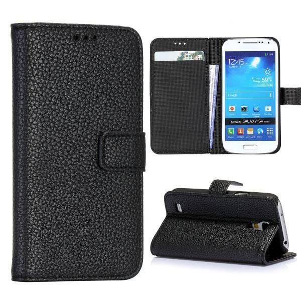 Lichee zwart bookcase hoesje voor de Samsung Galaxy S4 mini