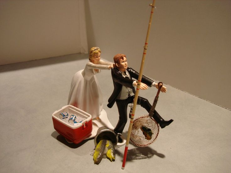 Nice Novelty Wedding Cake Toppers With Funny Fishing Topper In