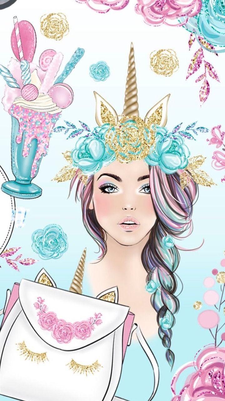 Unicorn Girl Wallpaper : unicorn, wallpaper, Baybe, Unicorn, Wallpaper, Cute,