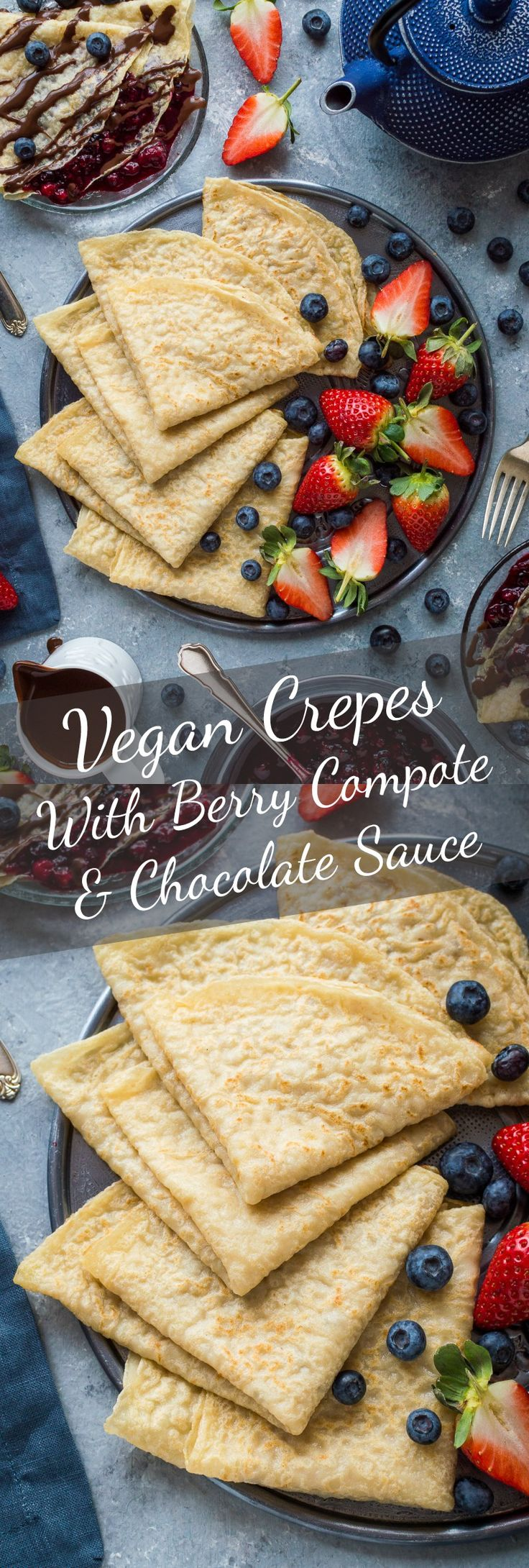 Vegan crepes with berry compote and chocolate sauce - easy, tender, egg and dairy free pancakes with a delectable chocolate sauce and mixed berry compote. Perfect for pancake day! #vegan #plantbased #pancakes #breakfast