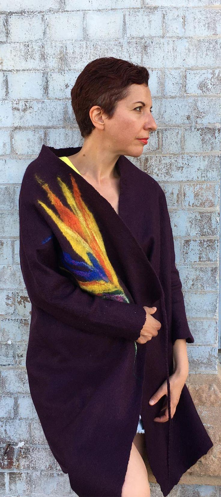 Fashion summer style wearable coat by Vera Alexanderova. #wearables #ecofriendly #ecofashion #wool #handmade #style #fashion #felt #coat