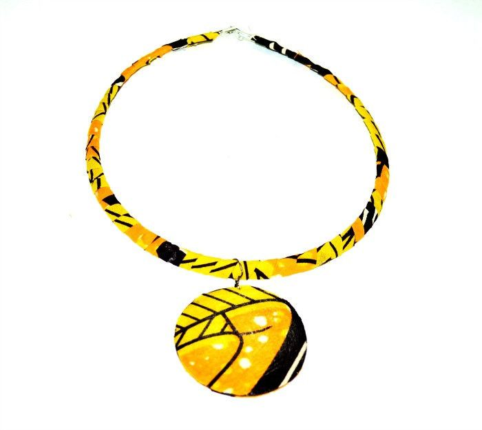 Yellow Statement Necklace - African wax print fabric necklace,Ethnic necklace, african fabric necklace ,For her, Ethnic jewelry, colorful