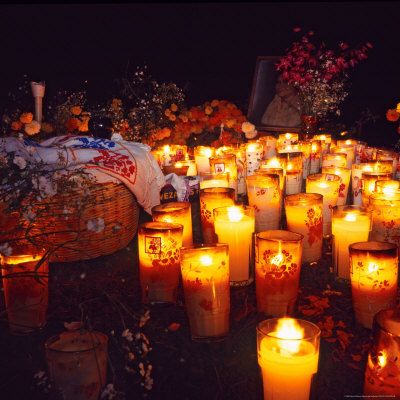 The Day of All Saints (Dia de Todos los Santos) Graves Adorned with Flowers, Michoacan, Mexico