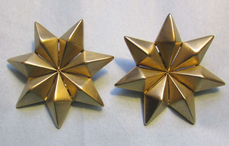 Vintage Givenchy Earrings Huge 7 Pointed Stars Gold Spiky Clip Statement Runway #Givenchy #Spiky