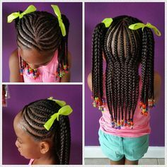 Cornrows in ponytails| Little girl protective hairstyle