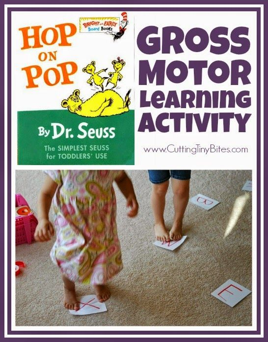 Gross motor learning activity using the Dr. Seuss book Hop on Pop!  Can be used to review letters, numbers, sight words, shapes, or colors.  Perfect for toddlers or preschooler!