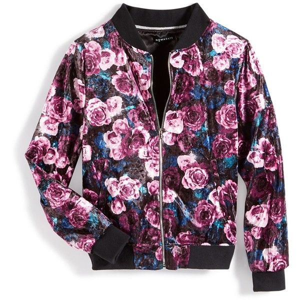 Nowadays Skai Tween Floral Velour Bomber Jacket, Big Girls (7-16) &... ($37) ❤ liked on Polyvore featuring outerwear, jackets, multi, flower print jacket, velour bomber jacket, blouson jacket, floral-print bomber jackets and flight jacket