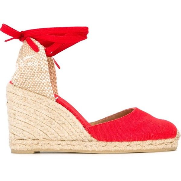 Castañer Carina Wedge Espadrilles ($93) ❤ liked on Polyvore featuring shoes, sandals, red, wedge espadrilles, wedge heel sandals, castaner espadrilles, espadrilles shoes and red sandals
