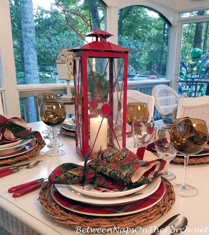 Welcoming Autumn With A Colorful Table Setting In Shades Of Red Gold And Brown Colorful Table Setting Lantern Christmas Decor Colorful Table
