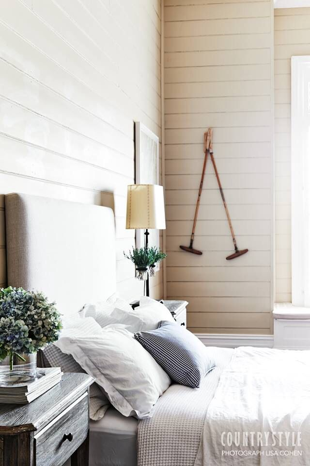 Calm & relaxing taupe blue stripe padded headboard