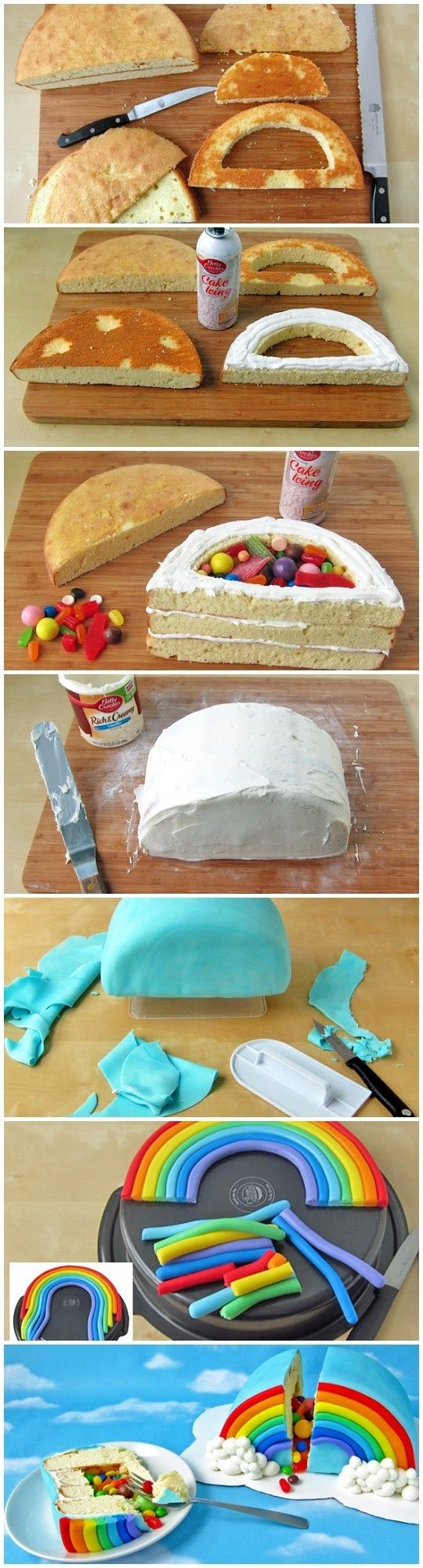DIY rainbow cake. I'm just really digging the fact you can fill your cake with candy :) or icecream!!!