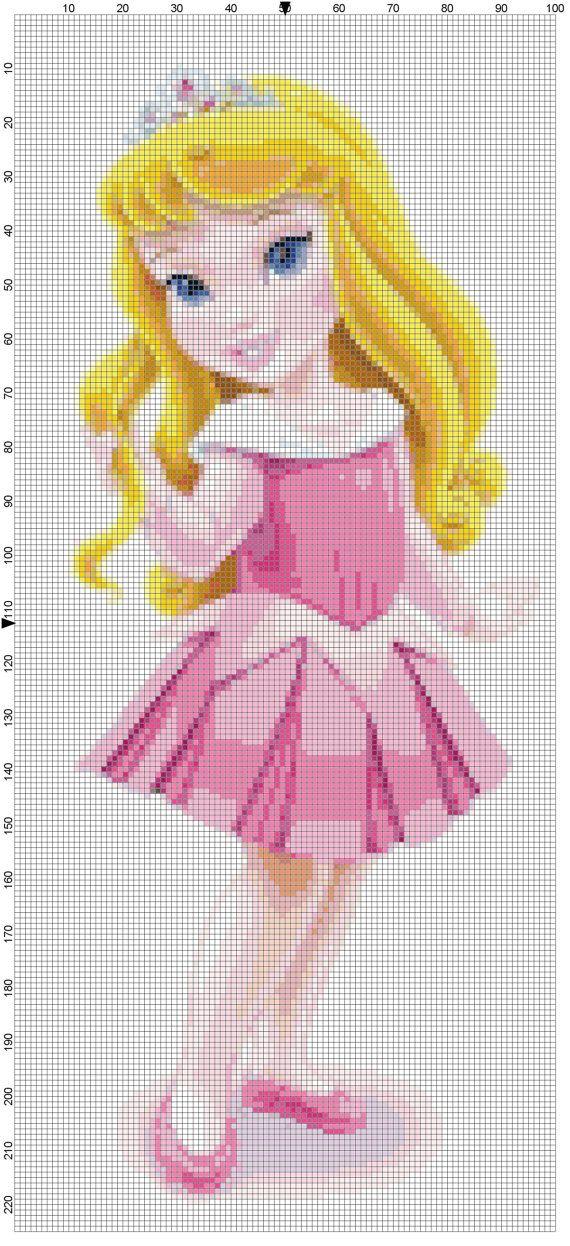 Mini Aurora cross stitch pattern PDF on Etsy, $1.97