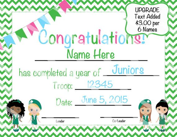 48 best Girl Scout Certificates for Girls images on Pinterest - sample certificates for kids