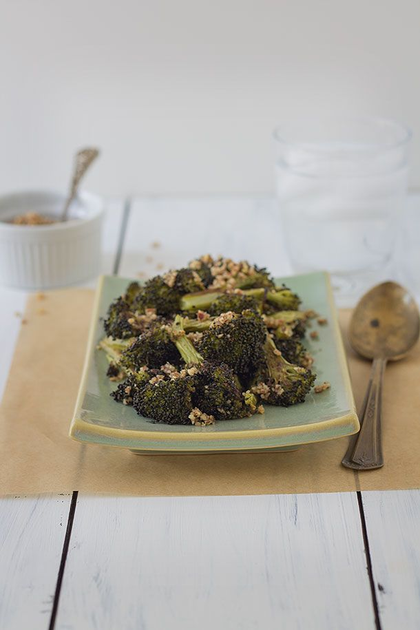 Vibrant broccoli roasted to nutty and smoky perfection tossed with ground pecans and ghee.
