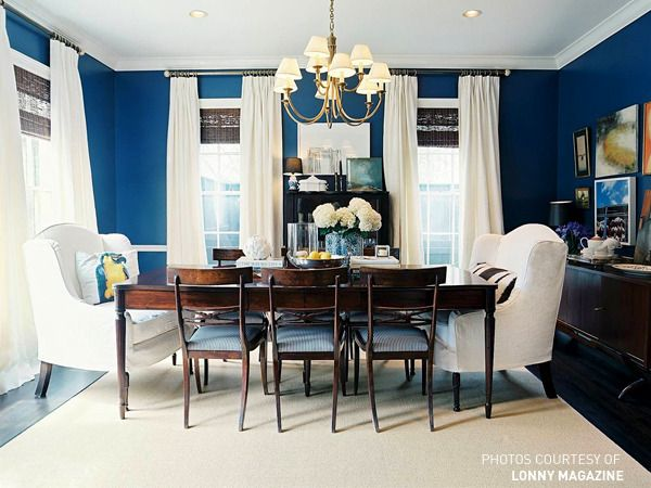 dark blue walls -- never thought of it but looks great here with white!