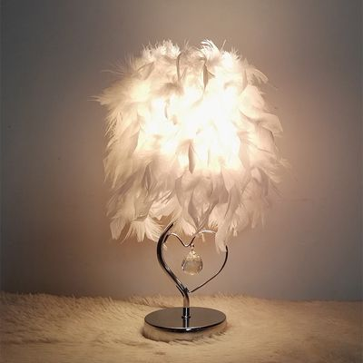 Find More Table Lamps Information About Modern Lustre Feather Table Lamps  Bedside Reading Room Foyer Sitting Room Living Heart Shape White Crystal  Table ...