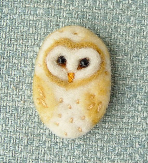 Felt Brooch, Needle Felted Brooch, Barn Owl, MADE TO ORDER Here is a handcrafted needle felted brooch, Barn Owl. This was lovingly handmade from