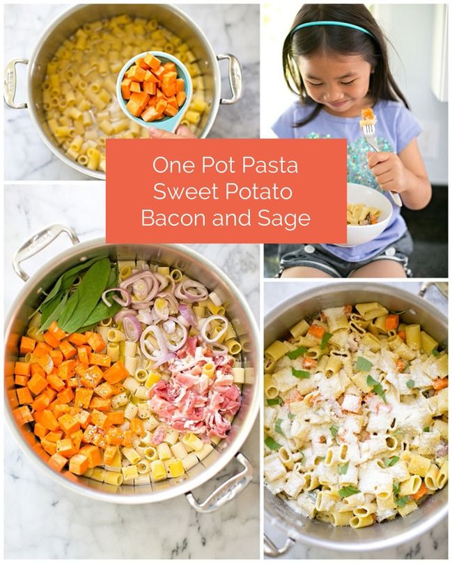 One pot sweet potato, bacon and sage pasta. So delicious, easy and fun for the kids to help make too! #cookingwithkids
