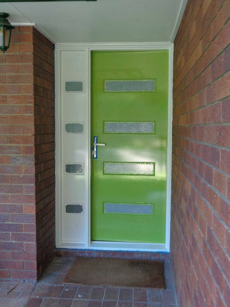 Front door with the first coat on. Dulux Venus Fly Trap with Dulux Whisper White trim.