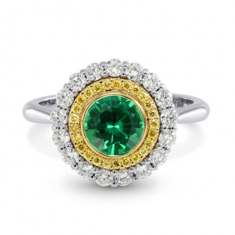 Round Emerald Intense Yellow Double Halo Ring, SKU 3064R (1.04Ct TW)