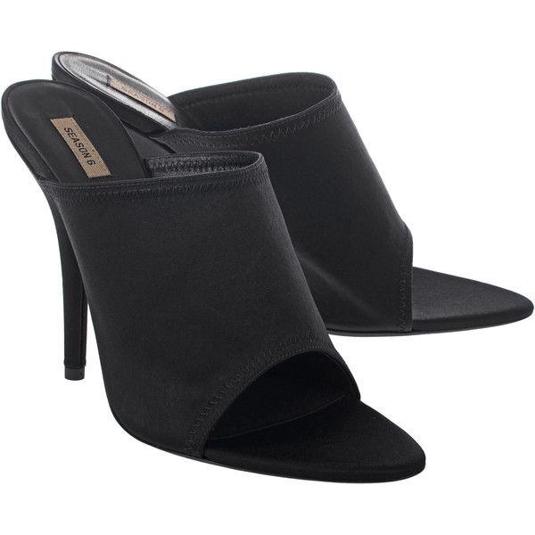 satin shoes, Black mules shoes