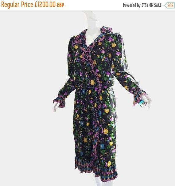 ON SALE: 1970s YSL vintage silk flamenco dress couture