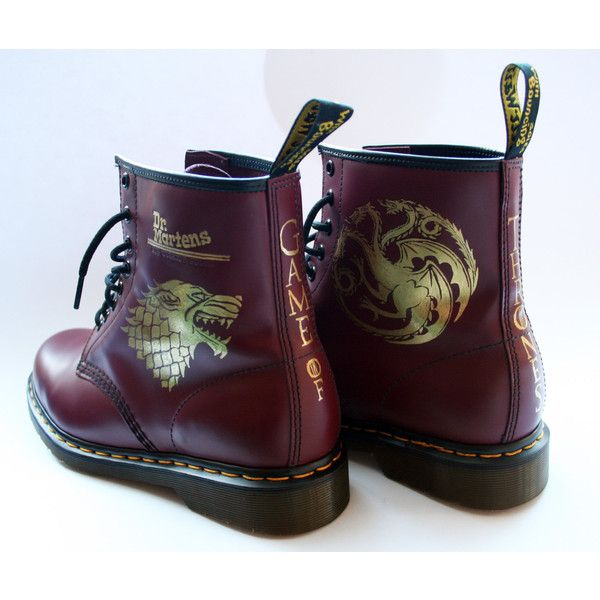Custom Game of Thrones Dr Martens boots Docs shoes (€515) ❤ liked on Polyvore featuring shoes, boots, dr martens footwear, dr martens shoes, dr martens boots and dr. martens