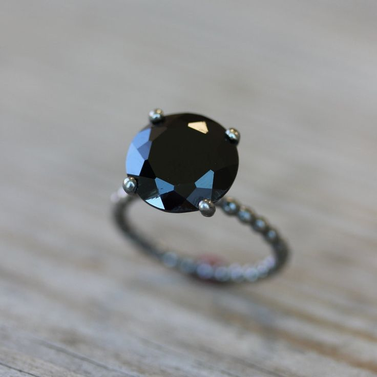 Black Spinel and Blackened  Sterling Silver Solitaire Ring, Cocktail Ring Made in Your Size. $298.00, via Etsy.