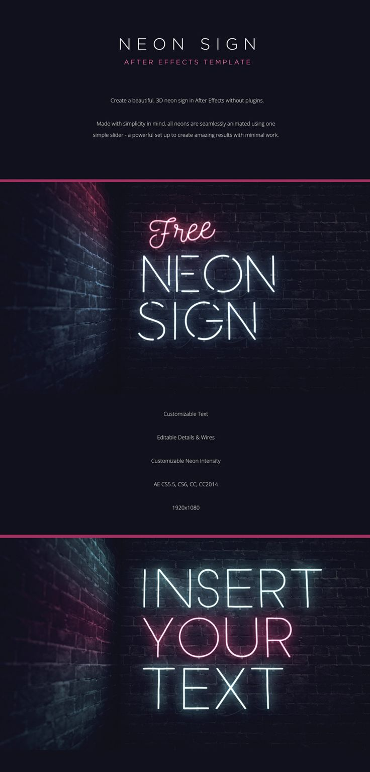 Neon Sign | FREE After Effects Template.