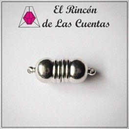 41595942b752 Cierre Imán bolas rayas de 25x10mm color plata