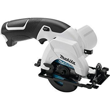 "Side image of a Makita 12 volt 3-1/8"" cordless circular saw."
