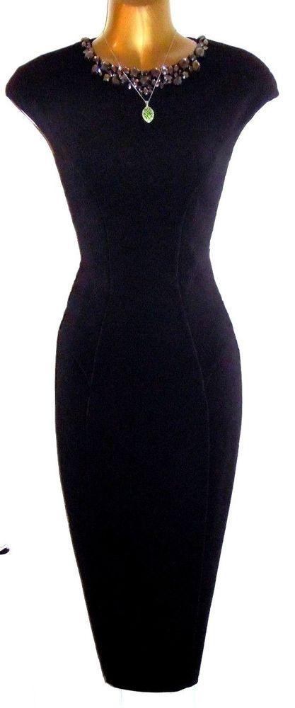 0d43100240cc1 Stunning TED BAKER Black Dardee Embellished Bodycon Midi Dress 1 UK 8 US 4  179