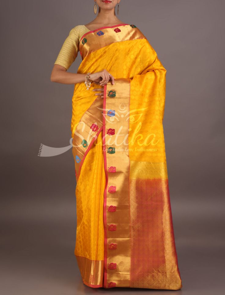 Aayushi Luscious Yellow With Colorful Buttis Pure Sil Ksaree From Coimbatore