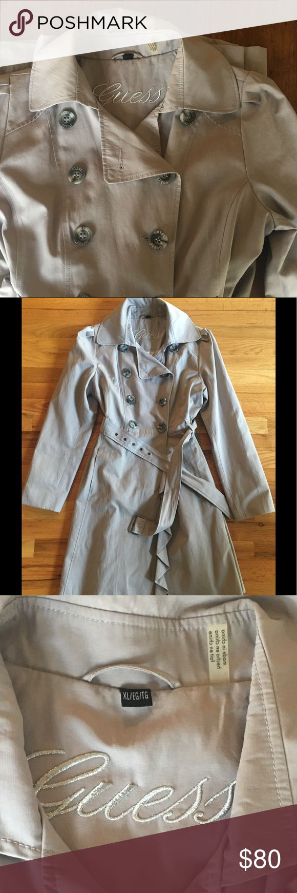 Guess ladies raincoat Piped fit & flare trench coat. Beautiful double breasted & flared skirt w waist defining belt. Water resistant Last picture is of a similar trench from Guess without the flare Guess Jackets & Coats Trench Coats