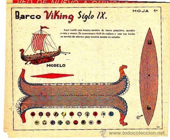 RECORTABLE BARCO VIKINGO SIGLO IX REVISTA MARAVILLAS 1944 (Coleccionismo - Recortables - Transportes)