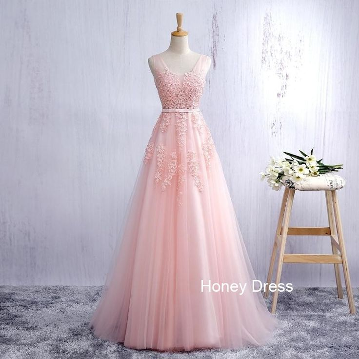 Pink Tulle A-line Lace Applique Long Prom Dress, Deep V Back Strap Prom Gown, Evening Dresses