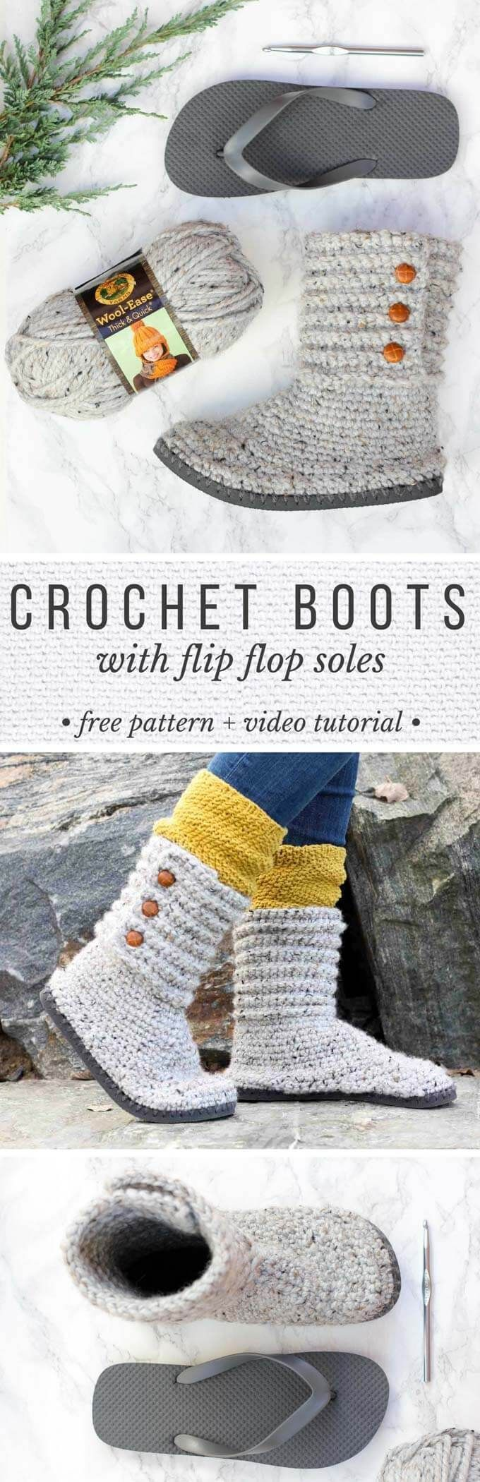 These DIY crochet boots with flip flops for soles make excellent slippers or UGG-like sweater boots to wear around town. Click for the free pattern and thorough video tutorial. These make a great crochet Christmas gift!