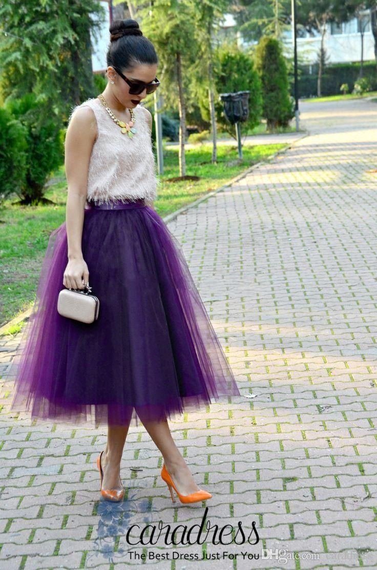 New Fashion Purple Tulle Women Skirts Tea Length Custom Made Plus Size Maxi Skirts For Bridesmaid Dresses Party Gown 2016 Spring Tutu Skirt
