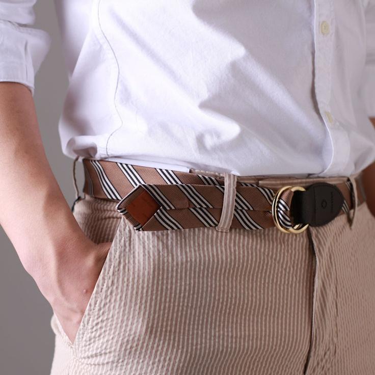 Dominik Gold Stripe / Tie Belt  www.cnyttan.com