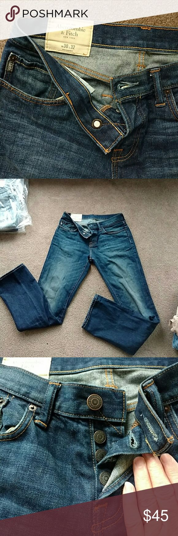 Abercrombie and Fitch mens jeans In like new condition only worn a couple times button fly  no holes Abercrombie and Fitch Jeans Slim Straight