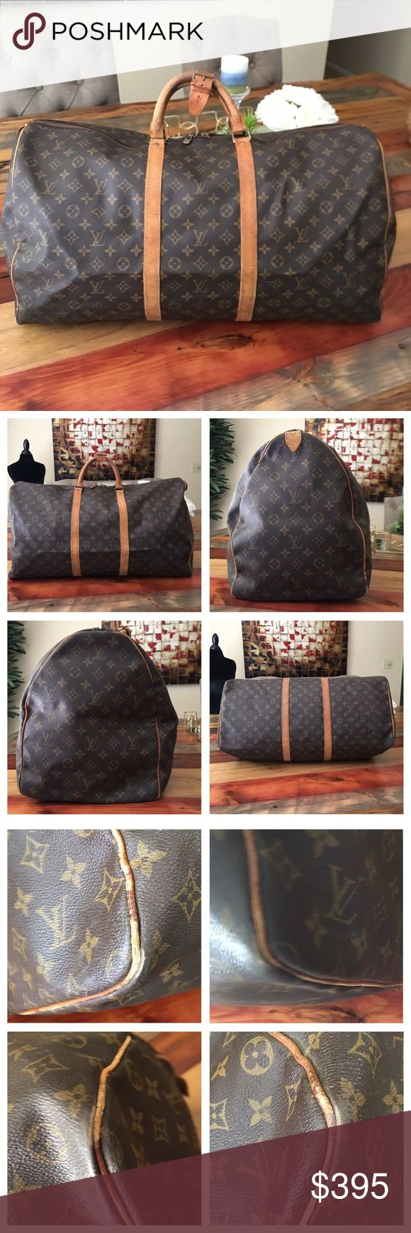 """AUTHENTIC LOUIS VUITTON KEEPALL 60 100% Authentic Louis Vuitton Keepall 60. The largest size. Travel with luxury. Get ready for Summer with this amazing vintage bag. Tons of life left. Monogram canvas has no scratches or tears. Wear on corners, no exposed piping. Zipper works properly. Handles show wear, no cracks 👍🏻 Inside is in good shape. Minor storage smell. Hardware has tarnished. W23.6x H12.9""""x D10.2"""" Handles 4.7"""" No trades Louis Vuitton Bags Travel Bags"""