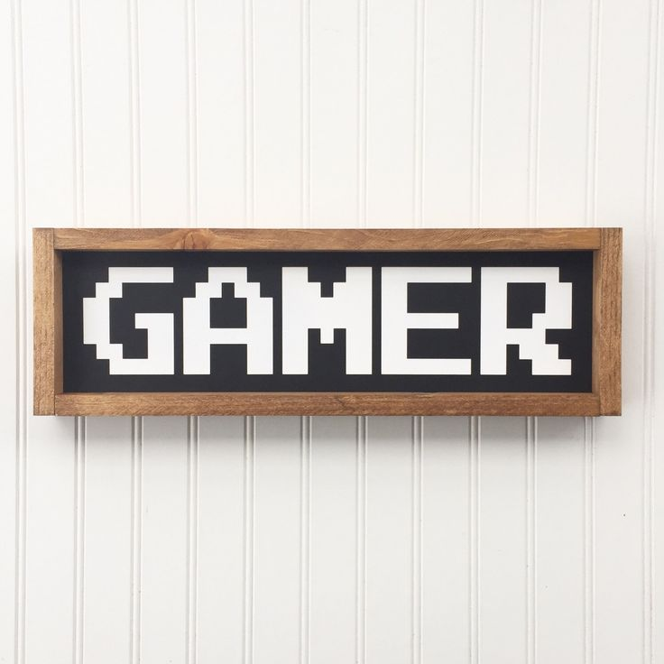 Gamer Framed Wood Sign, Old School Video Game Font, Custom Vintage Style Kids Decor, Funny Boys Sign, Gallery Wall Art, Kids Room Hanging by 4Lovecustomgifts on Etsy https://www.etsy.com/listing/491624470/gamer-framed-wood-sign-old-school-video