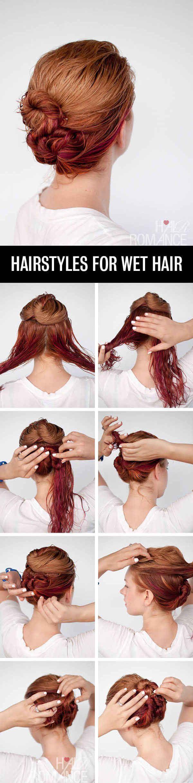 Mantén tu pelo mojado y arréglalo para que forme este doble rodete.