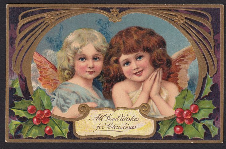 Christmas-Angels-PFB 9103-Series-Holly-Embossed Antique Postcard #Christmas