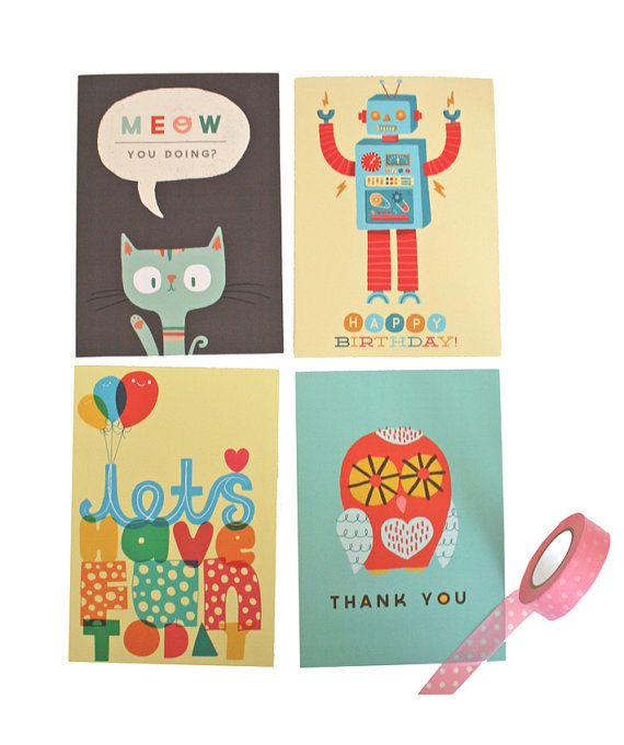 Buy 3 Get 1 FREE Greetings Cards / Hand Drawn by stephsayshello, £8.00