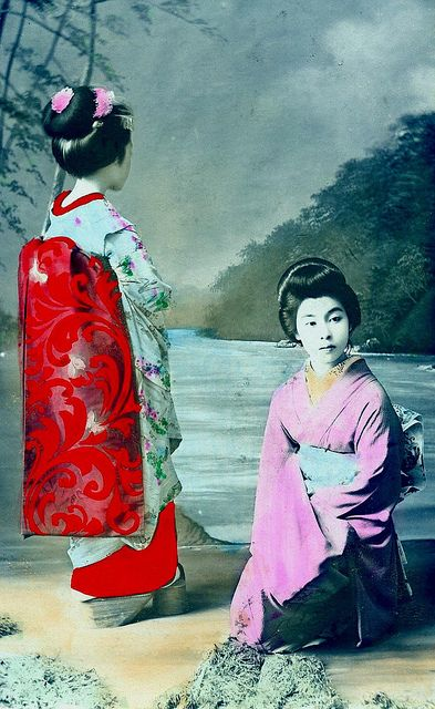 Maiko Girl and Geisha 1910 by Blue Ruin1, via Flickr: